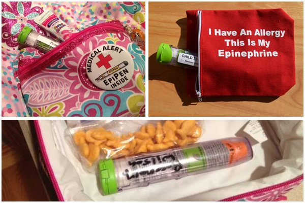 EpiPens inside self-carry cases and lunch bag