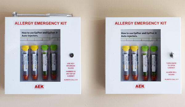 Allergy Emergency Kit hallway cabinets